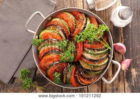 tomato,zucchini and aubergine
