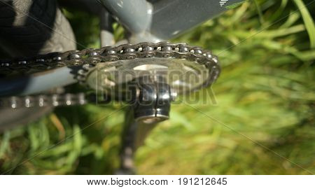 Bicycle's detail view of with chain and sprocket.