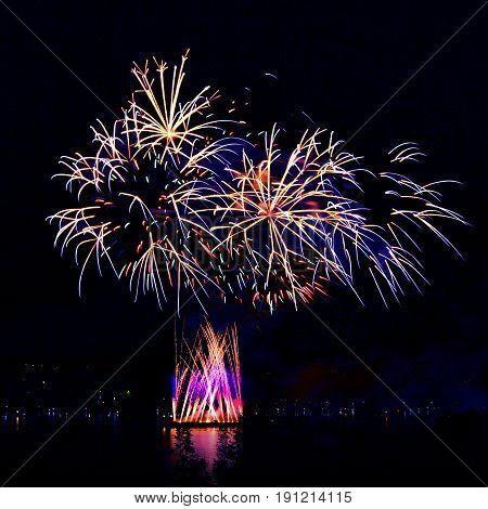 Beautiful Fireworks In A Night Skies