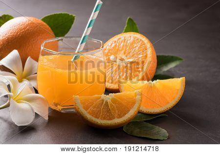 Orange And Orange Juice And Sliced Orange