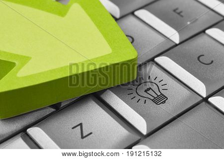 Good ideas background with keyboard bulb and arrow signal. Inspiration