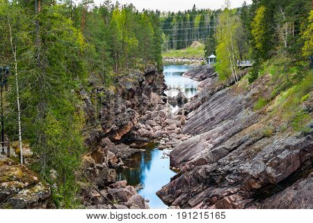 Vuoksa river and rocky canyon view in Imatra, Finland