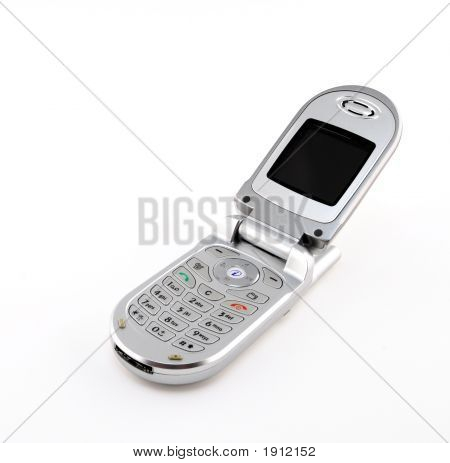 Clamshell Cell Phone On White Background