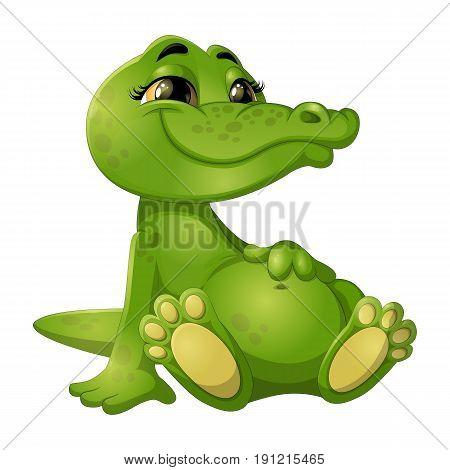 Illustration of good green crocodile who smiles
