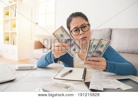 Chinese Asian Woman Count Money
