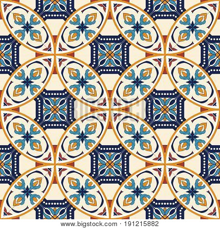 Vector seamless texture. Beautiful pattern for design and fashion with decorative elements. Portuguese tiles, Azulejo, Moroccan ornaments