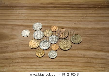 Old Soviet Coins On A Wooden Background