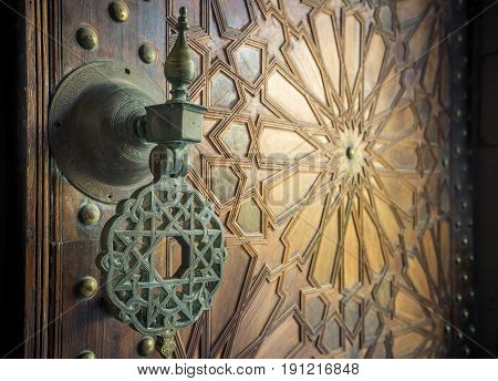 Highly detailed image of ancient moroccan doors