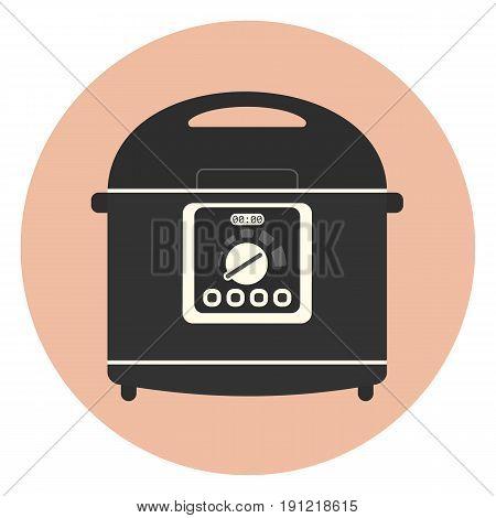 Flat Kitchen Multicooker Machine Icon, Crockpot