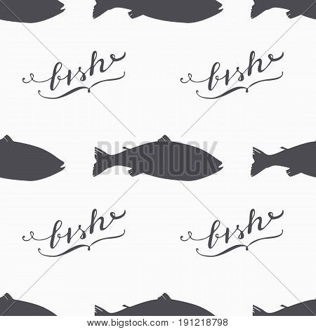 Salmon fish silhouette hand drawn seamless pattern in hipster style. Hand lettering. Seafood craft design. Background for craft food packaging