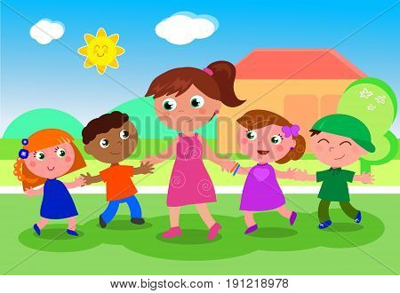Cartoon teacher or babysitter with boys and girls vector illustration near school