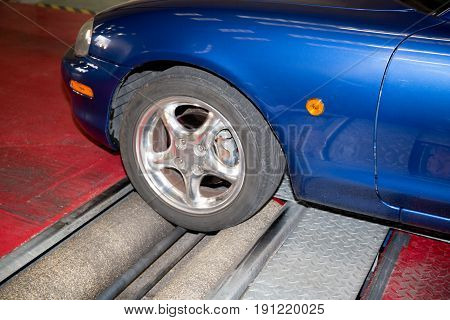 Shock Absorber And Brake Test Rolls In A Garage Test Center