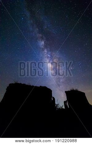 Milky way at Lalu rock formations park Sakaeo Thailand