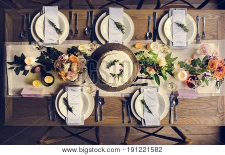 Elegant Restaurant Table Setting Service for Reception with Menu Card