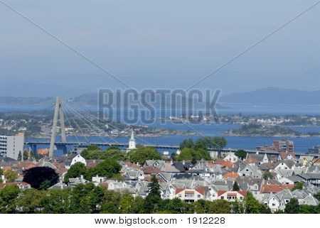 Complex view to Stavanger city in Norway. poster