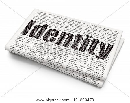 Security concept: Pixelated black text Identity on Newspaper background, 3D rendering