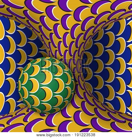 Optical motion illusion illustration. A sphere is rotating around of a moving hyperboloid. Abstract fantasy in a surreal style.