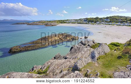 beautiful scenic rural landscape from ireland, aerial view