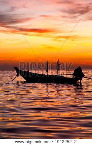 Sunrise Boat  And   Thailand Kho Tao  Coastline S China Sea
