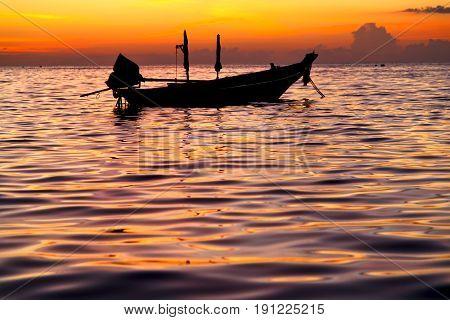 Sunrise   And Sea In Thailand   Tao Bay Coastline   Sea