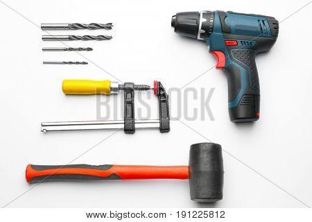 Set of carpenter's tools on white background