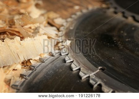 Closeup view of circular-saw disks in carpenter's workshop