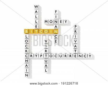 Crossword puzzle showing bitcoin keywords as dice on white flat view business concept 3D illustration