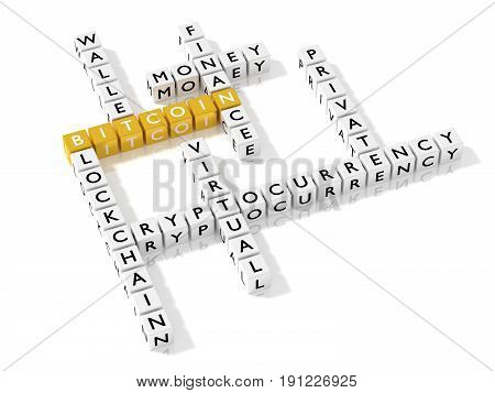 Crossword puzzle showing bitcoin keywords as dice on white business concept 3D illustration