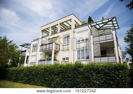Modern multi-family house with green area, rental