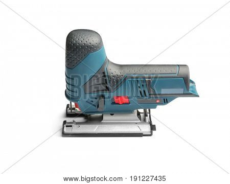 Modern carpenter's equipment on white background
