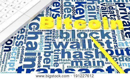 Extruded word bitcoin on desk with keywords wordcloud with pen and keyboard 3D illustration