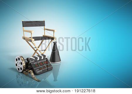 Cinema Concept  3D Render On Blue Background