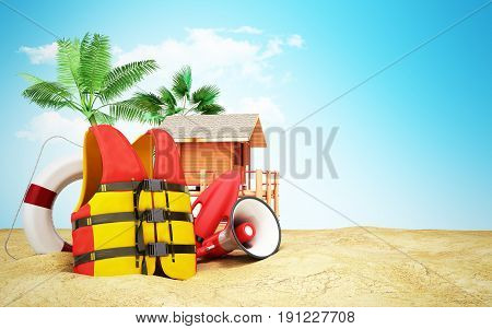 Secure Beach Concept Life Jacket Life Ring And A Horn And Other Objects On The Sand 3Render On Blue