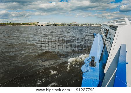 View from the excursion boat on the Neva River in St. Petersburg, copy space