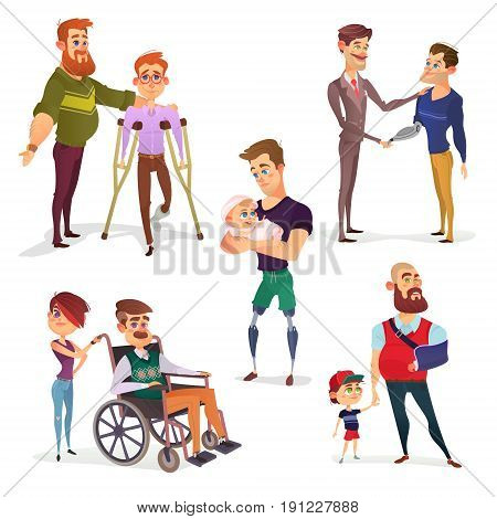 Set of cartoon illustrations of people with disabilities among others. Men with limited opportunities in a wheelchair, on crutches, with prosthetic legs, with a broken arm, with prosthetic arm