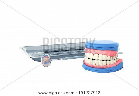 Dental Concept Dental Tools And Denture On A White Background 3D Render No Shadow