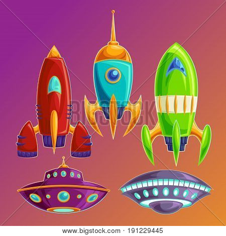 cartoon icons fantasy space rockets and flying saucers on the cosmic background. Set amusing spaceships and UFOs