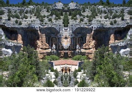 Abstract Symmetrical Photographs of Rocks, Home of vultures, Canyon of the Wolves River, Soria, Spain,