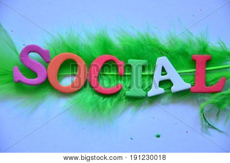 word social on a   abstract colorful ackground
