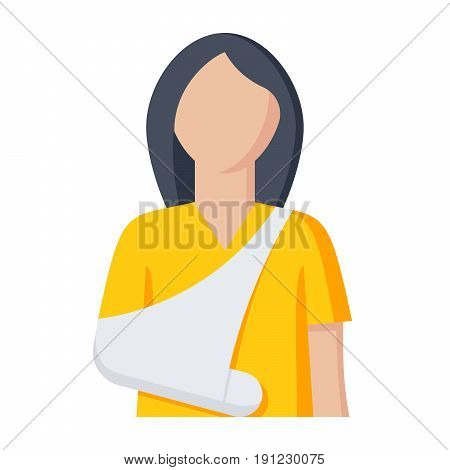 Woman with broken arm for orthopedics concept, vector illustration in flat style