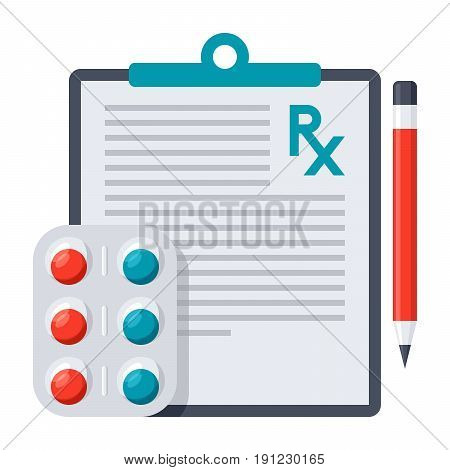 Medical prescription icon with pharmaceutical drug and pencil, vector illustration in flat style