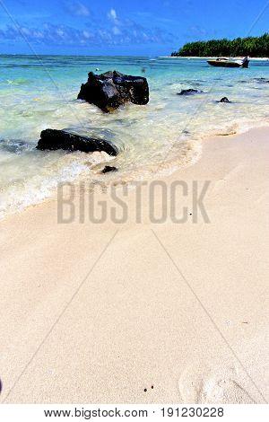 Beach Ile Du Cerfs Seaweed   Indian Boat