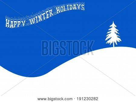 Happy Winter Holidays Banner and Wintry Landscape
