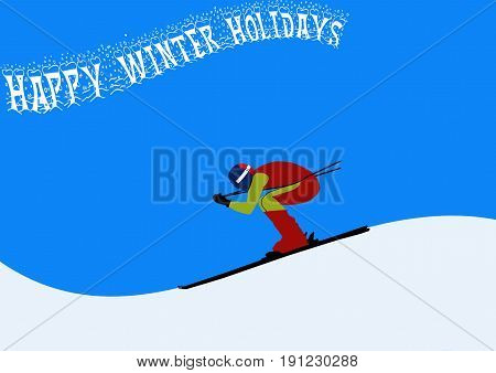 Skier on slopes with Happy Winter Holidays Banner
