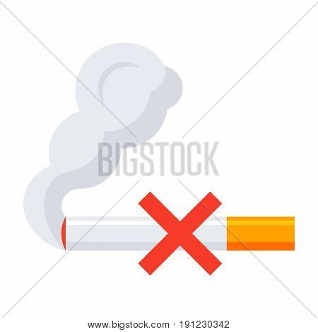 Tobacco cessation counseling concept with sign no smoking, vector icon in flat style