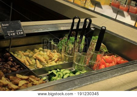 Salad buffet self service counter at a restaurant