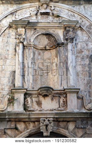 KORCULA, CROATIA - NOVEMBER 09: Detail of decoration at house built in Renaissance age in Korcula old town, Croatia. Korcula is a historic fortified town on the island of Korcula. on November 09, 2016