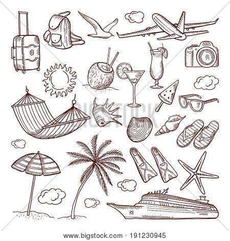Summer time theme in hand drawn style. Vector doodles icon set. Collection of summer hand-drawn icons illustration