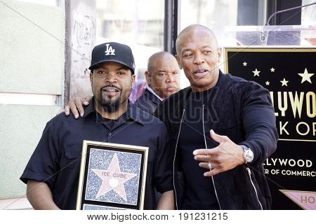 LOS ANGELES - JUN 12:  O'Shea Jackson aka Ice Cube, Dr Dre at the Ice Cube Star Ceremony on the Hollywood Walk of Fame on June 12, 2017 in Los Angeles, CA