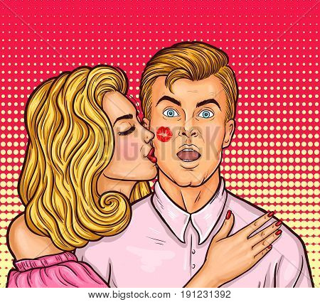 pop art illustration of sexy woman with red lipstick kissed a man